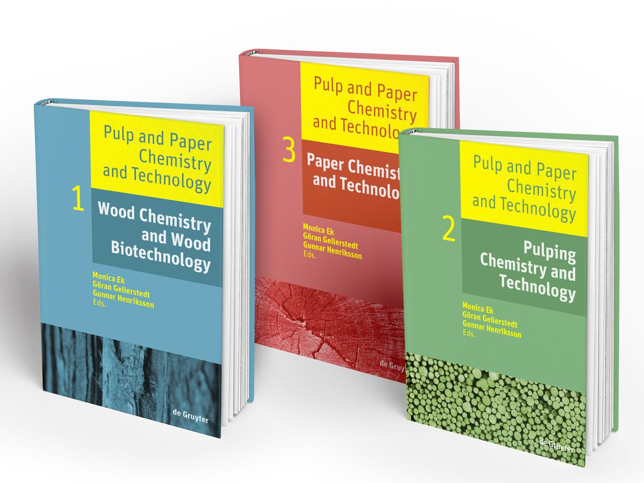 gedeckte farbtöne und starke typografie kennzeichnen das mehrbändige standardwerk zur papierherstellung. das bildkonzept stellt dabei den rohstoff in den mittelpunkt.
