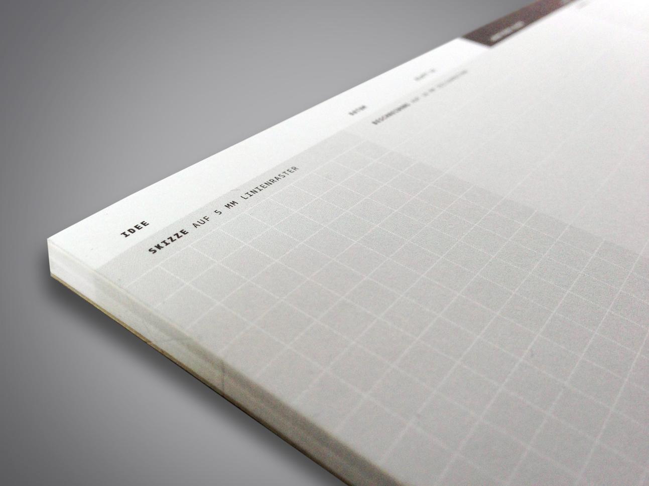 block, 210x98 mm, 80g offset weiss, rückpappe grau, leimbindung links, jeweils 50 blatt diese entwürfe von martin zech design sind ohne auftraggeber entstanden und in kleinen exklusiven auflagen erhältlich.