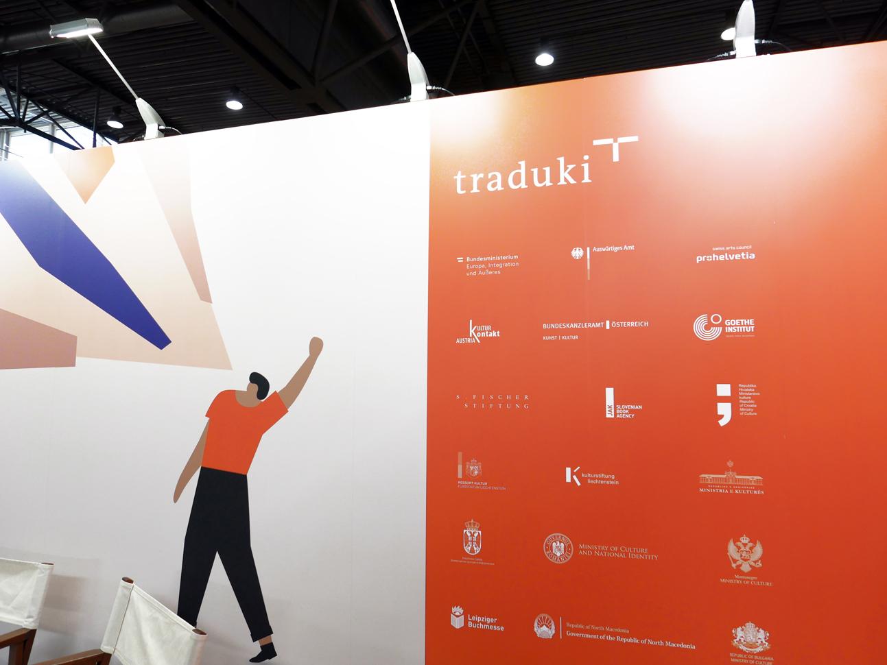 martin zech design, projekt design, traduki, messestand, leipziger buchmesse, 2019, buehne, logos