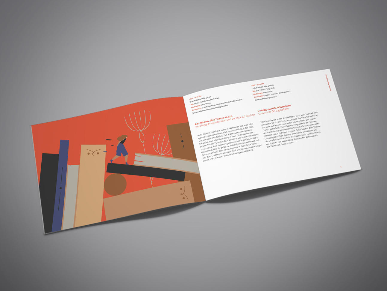 martin zech design, projekt design, traduki, messestand, leipziger buchmesse, 2019, programmheft, doppelseite 1