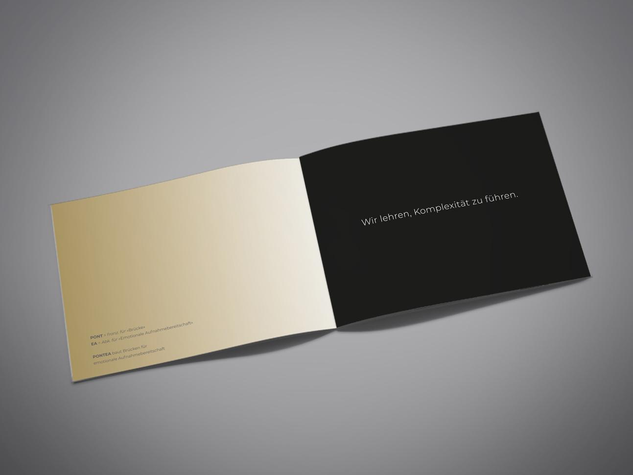 martin zech design, corporate design, pontea, firmenbroschuere, doppelseite 1