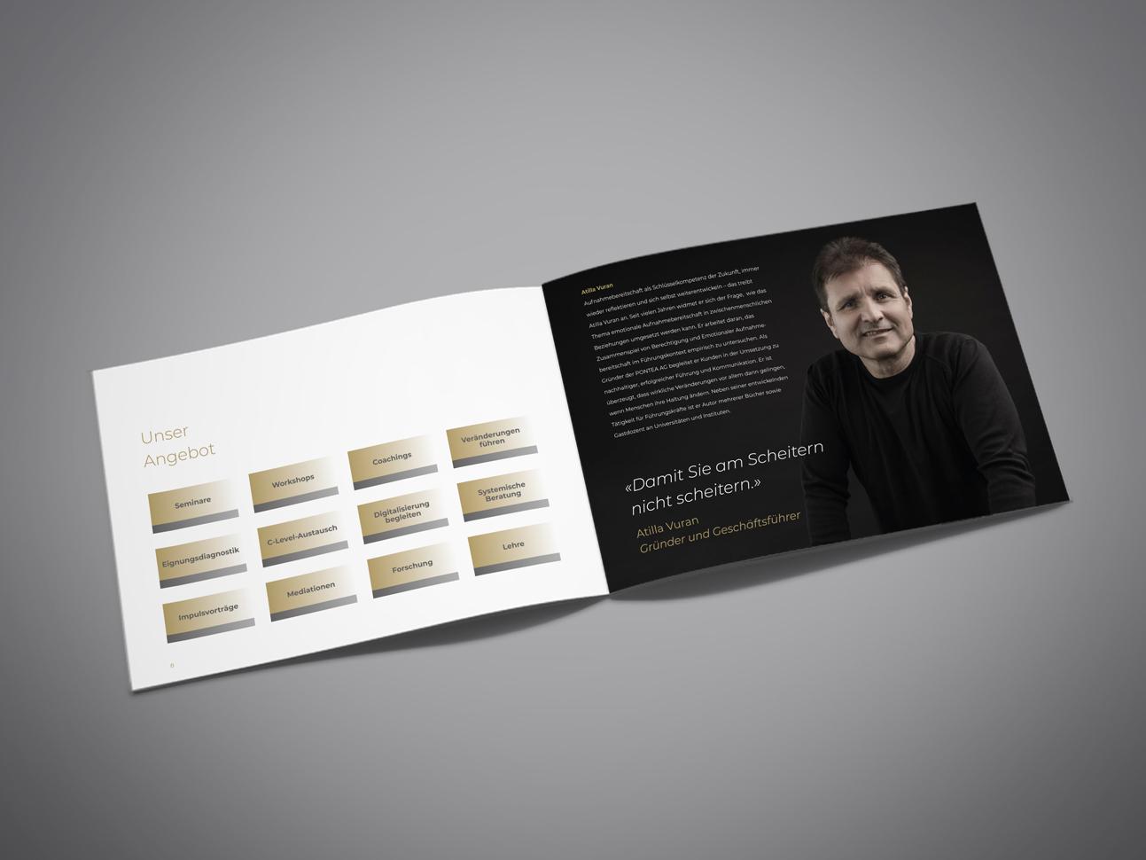 martin zech design, corporate design, pontea, firmenbroschuere, doppelseite 3