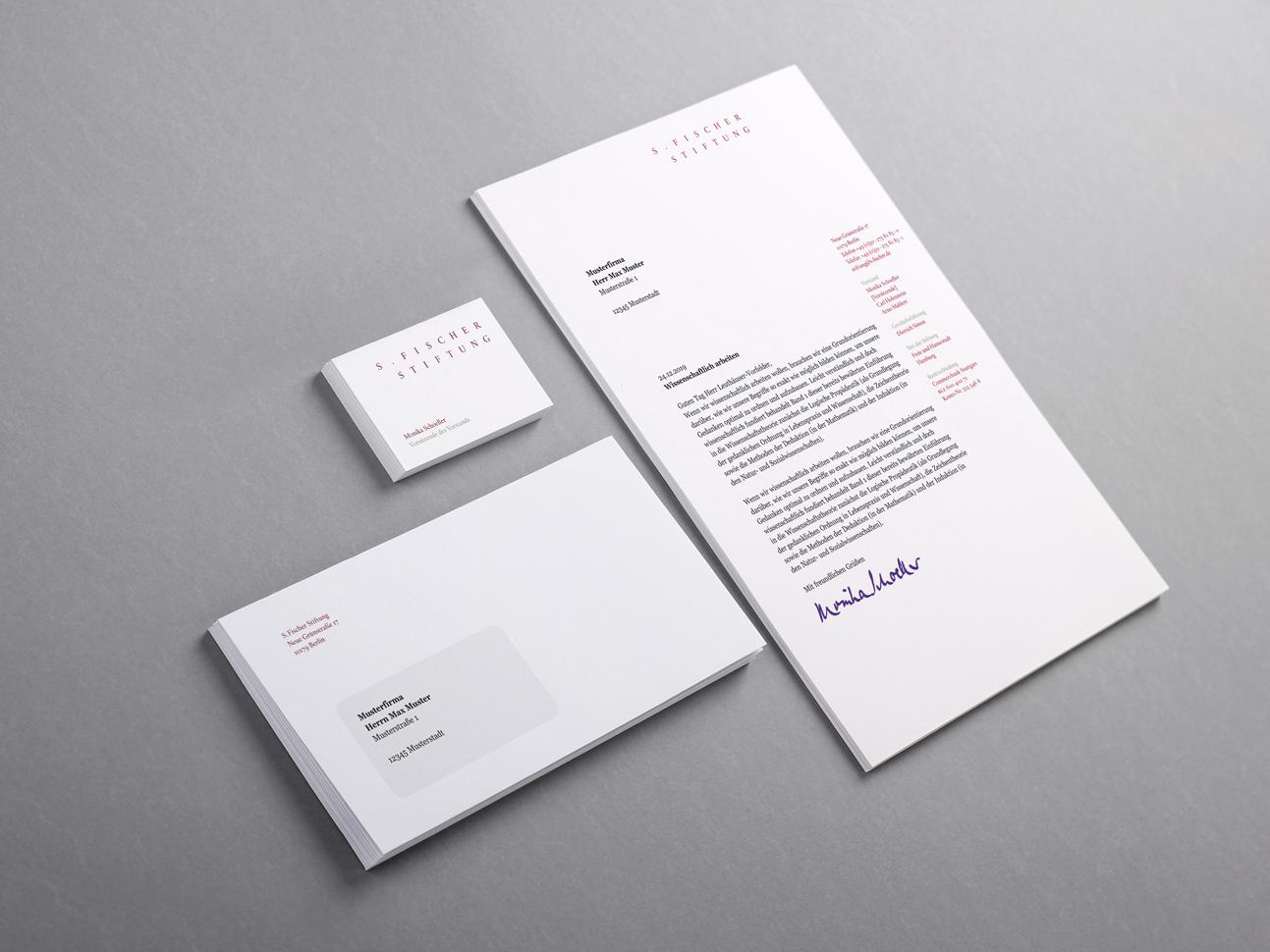 martin zech design, corporate-design, s. fischer stiftung, briefbogen, briefumschlag