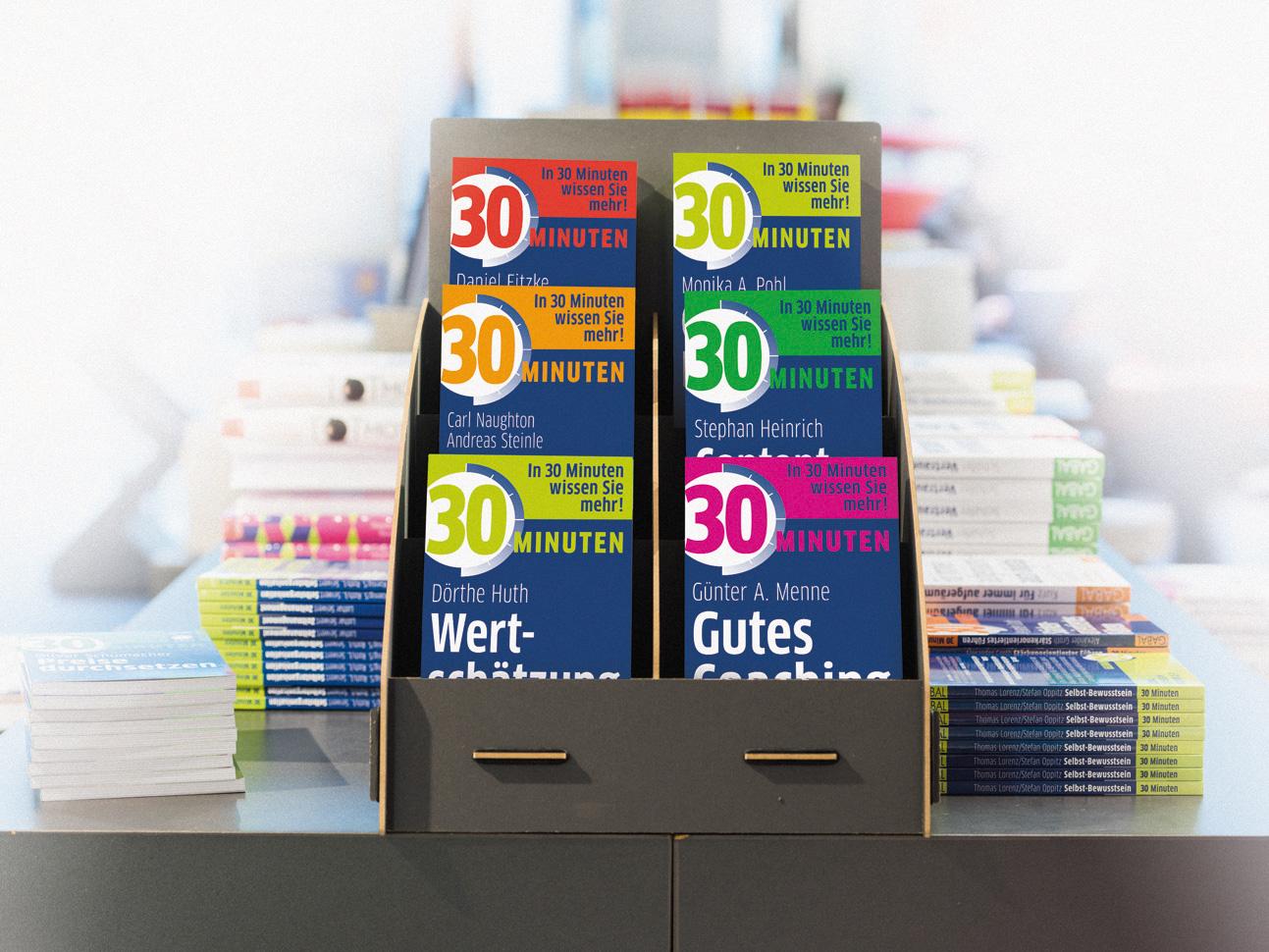 martin zech design, buchcover design, gabal verlag, 30-minuten-reihe, büchertisch, display