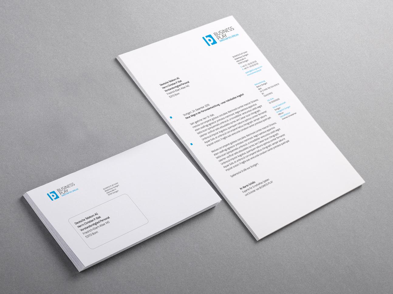 martin zech design, corporate-design, business play, briefbogen, briefumschlag